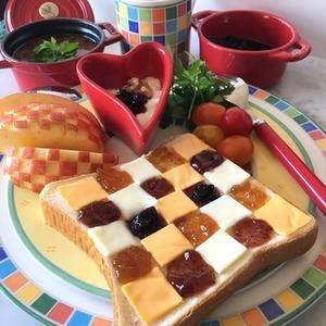 見た目がキュート♡編み編みチェックトーストのレシピアイデア集