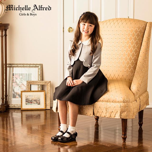 女の子入学式スーツ スカラップボレロフレアワンピアンサンブル