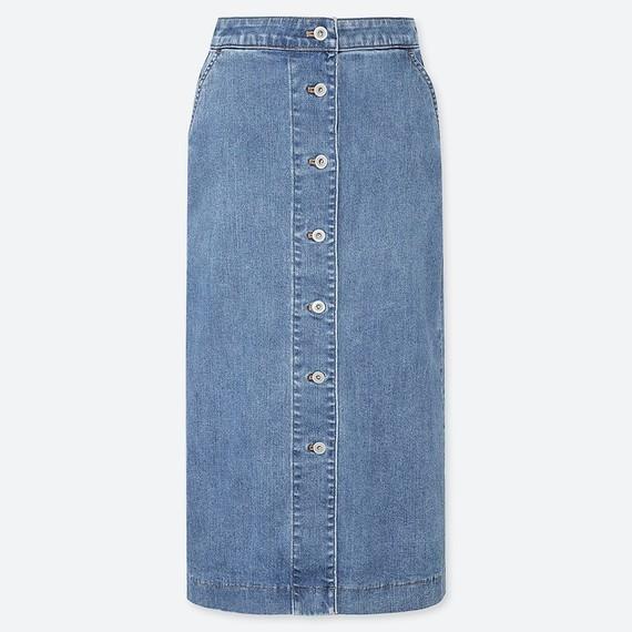 UNIQLOのデニムフロントボタンミディスカート