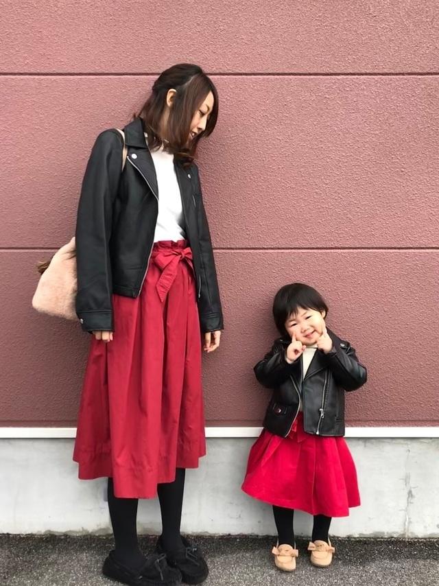 wearの赤色スカートコーデ