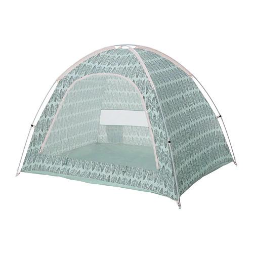 ミントグリーンとピンクのテント
