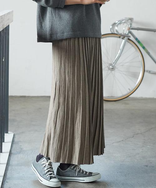 wearのロングニットプリーツ風スカート