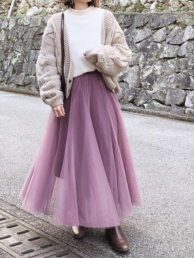 wearのチュールスカートコーデ