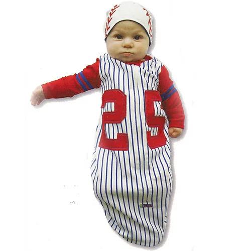 ソゾの野球選手変身なりきりキャップ付きおくるみスリーパー