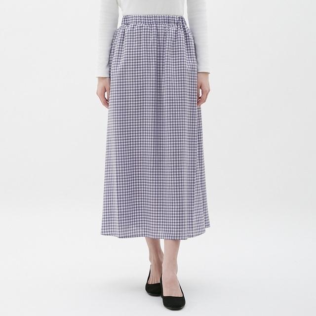 GUのリネンブレンドフレアロングスカート(ギンガム)