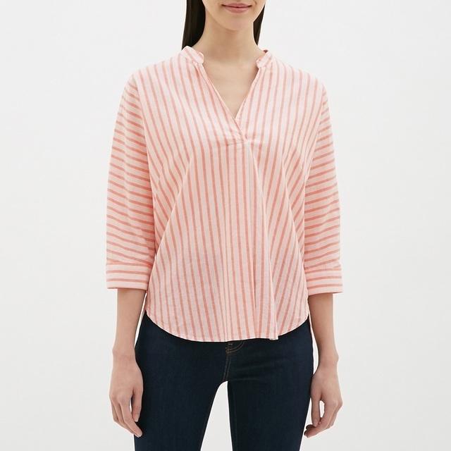 GUのストライプリネンブレンドシャツ(7分袖)