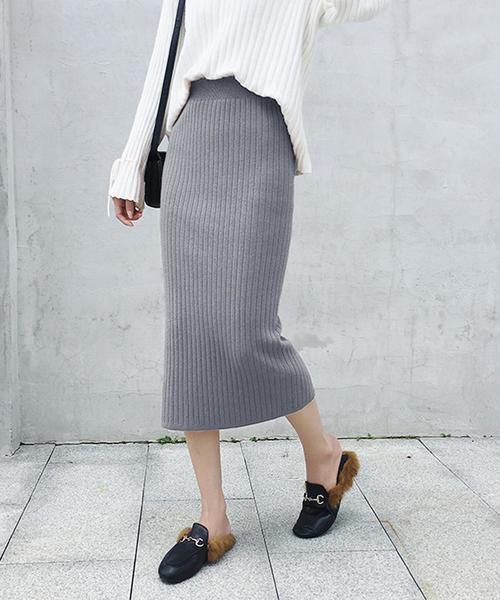 ガーリードールのハイウエスト スリットリブニットスカート