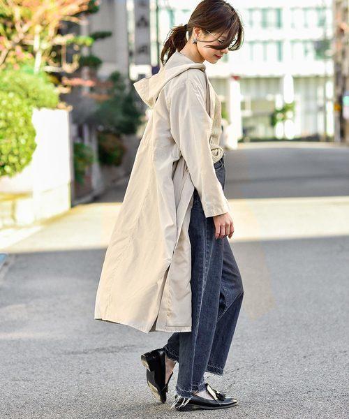 Fashion Letter フード付きロングスプリングコート
