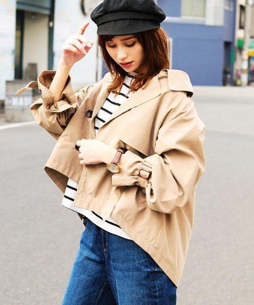 Fashion Letter オーバーシルエット キャンディ袖ショートトレンチ