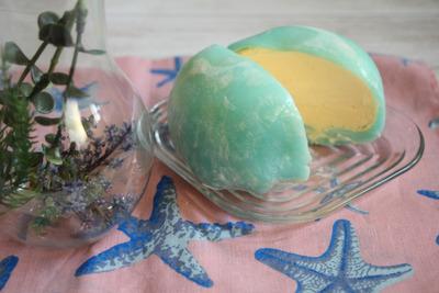 かき氷シロップでラムネアイス大福