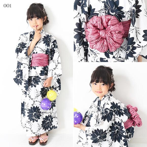 可愛い花柄キッズ浴衣