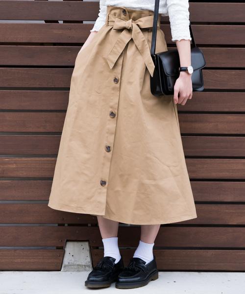ハイウエストリボン付きのフロントボタンスカート