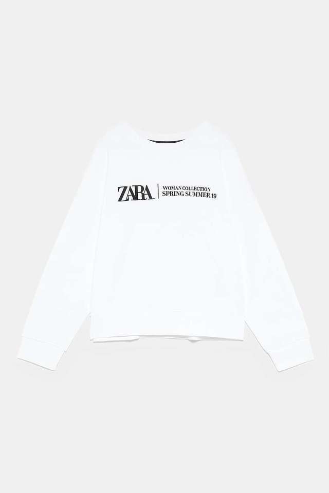 ZARAのロゴ刺繍入りスウェットシャツ