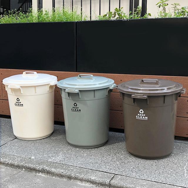 シンプルアースカラー ふた付きゴミ箱