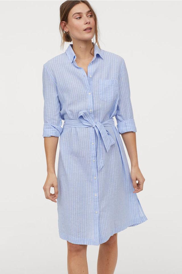 H&Mのリネンブレンドシャツドレス