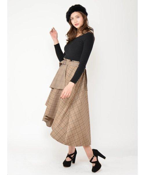 変形スカートのチェック柄ドッキングワンピース