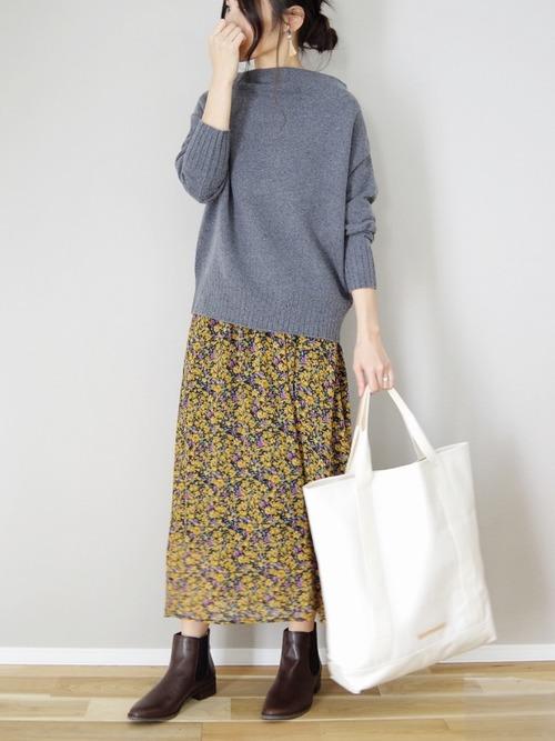 花柄スカートのブーツコーデ