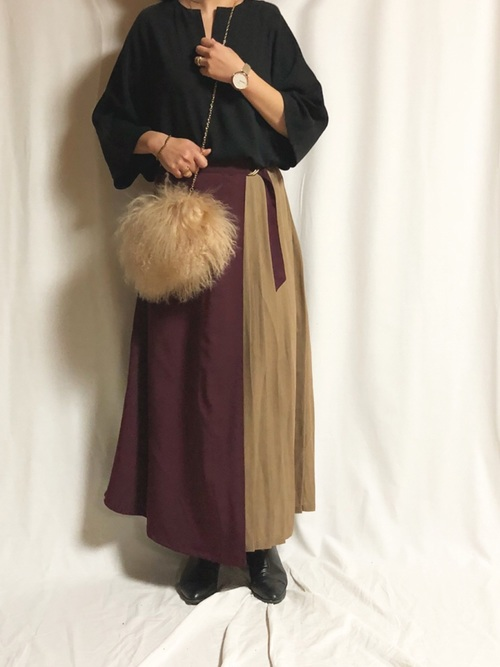 マキシ丈スカートのコーデ