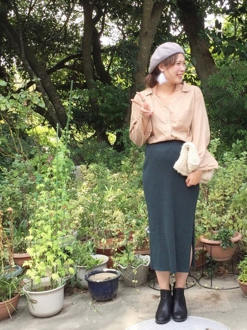 UNIQLOリブタイトスカートのおしゃれコーデ