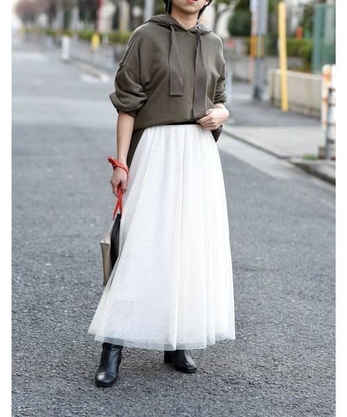 Eimee Lawのチュール×メッシュレイヤードロングスカート