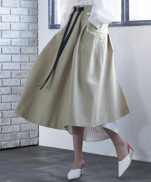 AULAのストライプレイヤードスカート