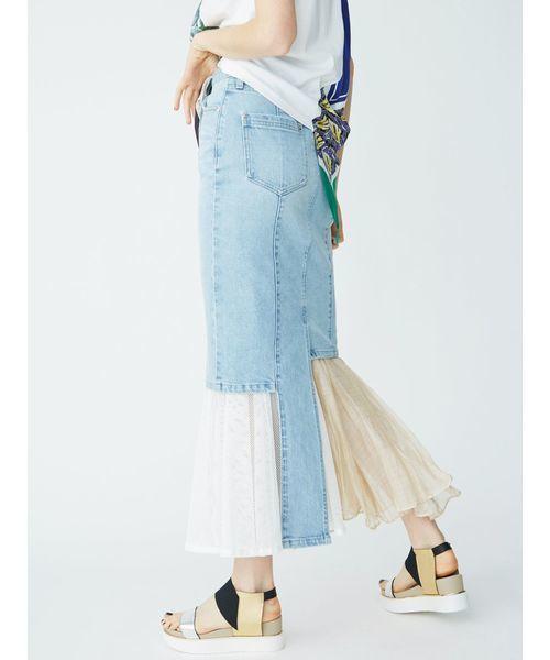 UN3D.のレイヤードデニムスカート