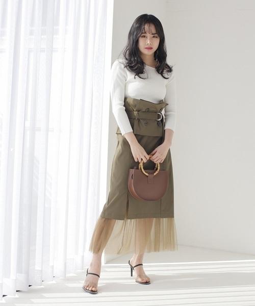 LADYMADEのトレンチベルトスリットチュールタイトスカート