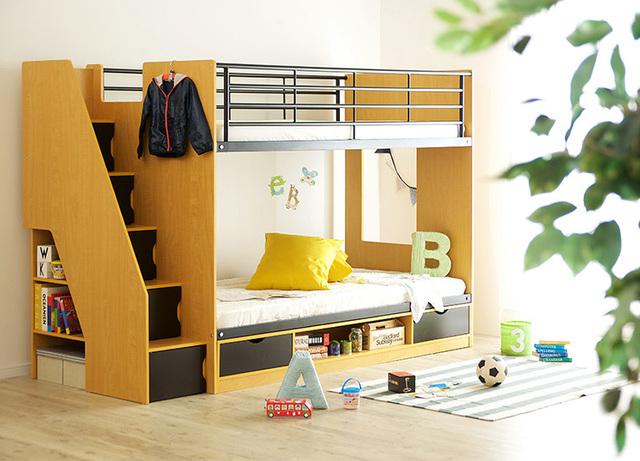 固定階段付き二段ベッド